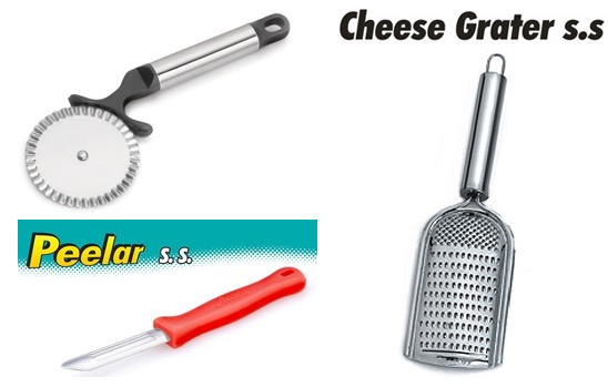 Avani Peeler, Regan Cheese Grater, Pizza cutter