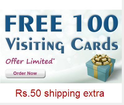 Free 100 business visiting card Free 100 business visiting card + Rs50 Shipping extra