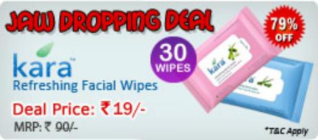 Kara Refreshing Facial Wipes lowest deal online