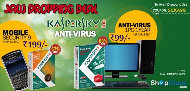 Kaspersky Anti-Virus at Rs99 Lowest price online from shopclues