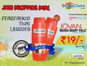 Jovan Musk Talc at just Rs.19 Shopclues discount coupon code