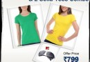 Bright solid Tees & MTV Roadies Sunglasses at Rs.799 Save Rs.3149 on Combo