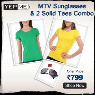 Bright solid Tees and MTV Roadies Sunglasses lowest deal online