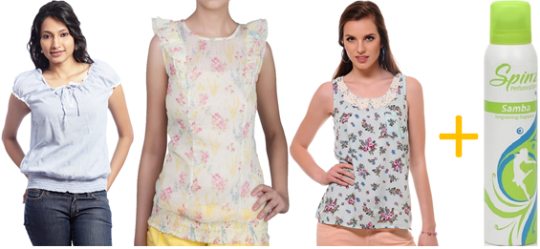 Free Ki Shopping.comBuy 3 ladies top + Spinz Deo online at Rs.617