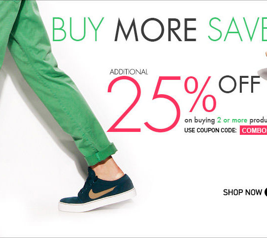 Get additional 25% OFF on buying 2 or more products