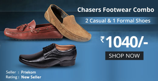 Buy 2 Casual and 1 Formal Shoes @ Rs. 1040
