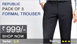 Buy Pack of 3 Formal Trousers @ Rs. 999