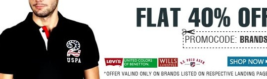 Get FLAT 40% OFF on Men's Apparels