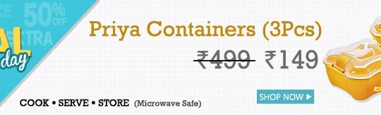 Buy Priya Set of 3 Containers Microwave Safe