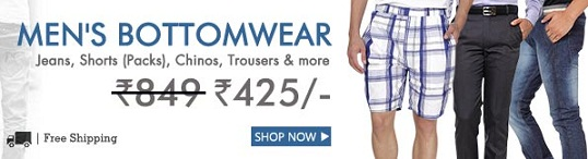 Buy Men's Bottomwear @ FLAT Rs. 425