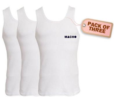 Buy Amul Macho Rib Vest Pack of 3 @ Rs. 198