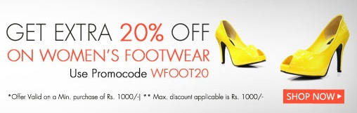 Get Extra  20% OFF on Women's Footwear on Rs. 1000 and Above
