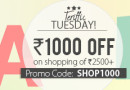 Rs. 1000 OFF on shopping of Rs 2500 and above on Yebhi.com