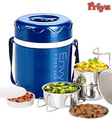 Buy Priya Envy Blue Tiffin Box With 3 Containers @ Rs. 229