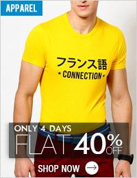 Get FLAT 40% OFF Men's Apparels
