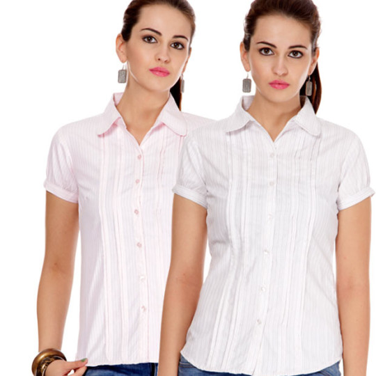 Buy Style Quotient White-Light Pink Cotton Shirts Combo Of 2 @ Rs. 399