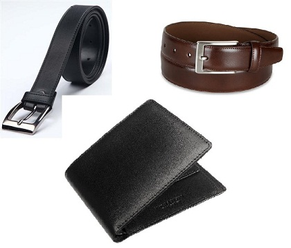Buy Combo of Italian Leather Wallet and 2 Leatherite Belts @ Rs. 299