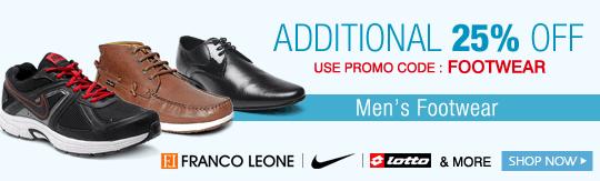 Get Additional 25% OFF on Men's Footwear