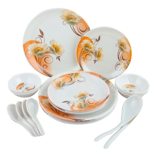 Buy Birde Floral Melamine 24 Pc Dinner Set - ORANGE @ Rs. 399