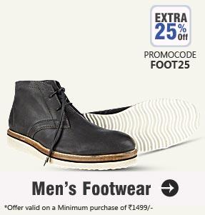 Get Extra 25% OFF on Men's Footwear