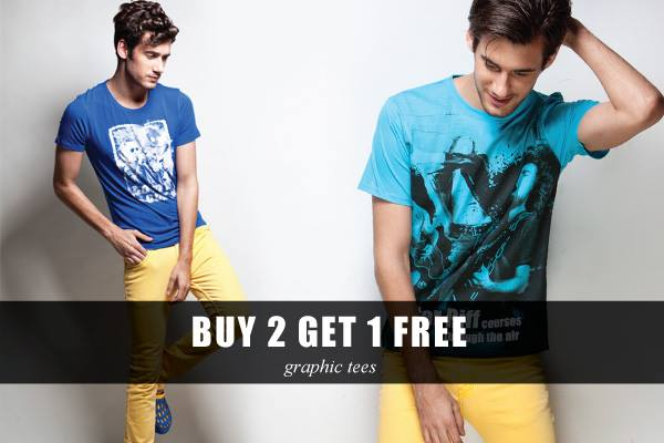 Buy 2 Graphic Tees and Get 1 Free